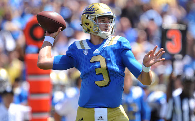 September 5, 2015; Pasadena, CA, USA; UCLA Bruins quarterback Josh Rosen (3) throws against the Virginia Cavaliers during the first half at the Rose Bowl. Mandatory Credit: Gary A. Vasquez-USA TODAY Sports