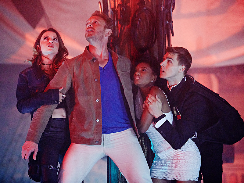 SHARKNADO: THE 4TH AWAKENS -- Pictured: (l-r) Masiela Lusha as Gemini, Ian Ziering as Fin Shepard, Imani Hakim as Gabrielle, Cody Linley as Matt Shepard -- (Photo by: Tyler Golden/Syfy)
